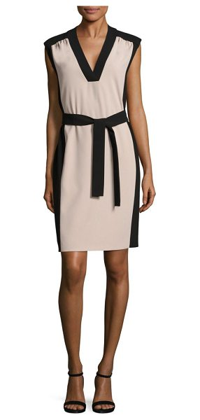 BOSS hakordia colorblock dress in beige - Crepe colorblock sheath dress with tie detail.V-neck....