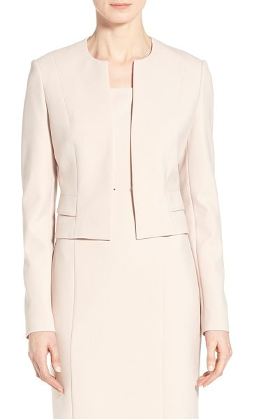 BOSS jiopela crop ponte suit jacket in pale rose - A short jacket in a sleek collarless style with...