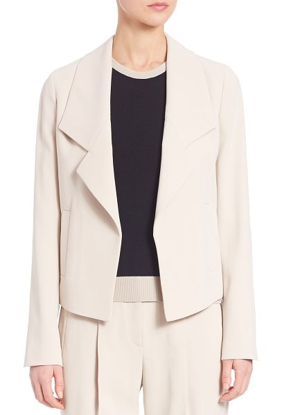 BOSS katalla crepe blazer in sand - Feminine open-front blazer with wide dropped lapels....