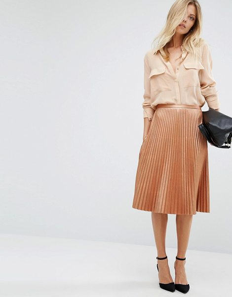 Boss Orange Boss Orange By Hugo Boss Bronze Pleated Midi Skirt in copper