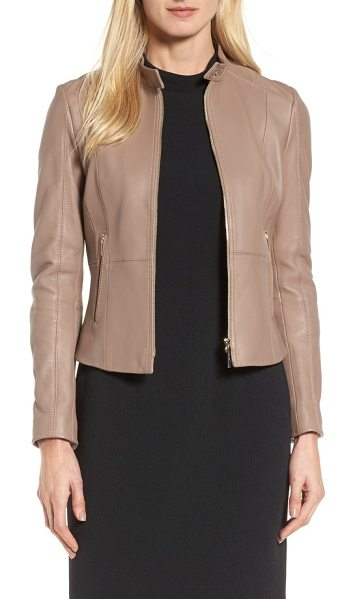 BOSS sammonaie leather jacket in toffee - Cut to fit like a glove, this luxe lambskin-leather...