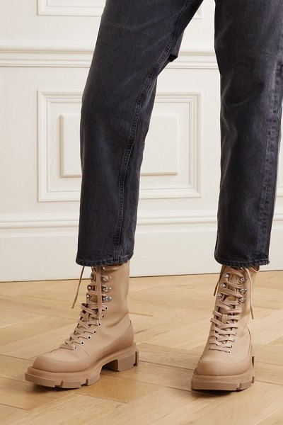 both gao lace-up rubber-trimmed canvas platform ankle boots in sand