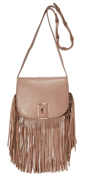Botkier Botkier Clinton Fringe Saddle Bag in chai - Swingy fringe accents the bottom of this petite Botkier...