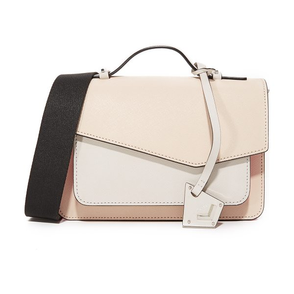 Botkier colorblock cobble hill cross body bag in tan/off white/persimmon - A colorblocked Botkier cross-body bag with polished...