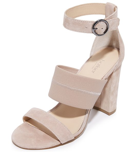 Botkier gisella sandals in blush - Suede Botkier sandals featuring a wide, tonal elastic...