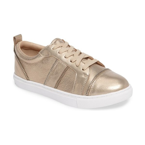 Botkier harvey sneaker in metallic rose - Shiny zipper detailing edges the contours of a...