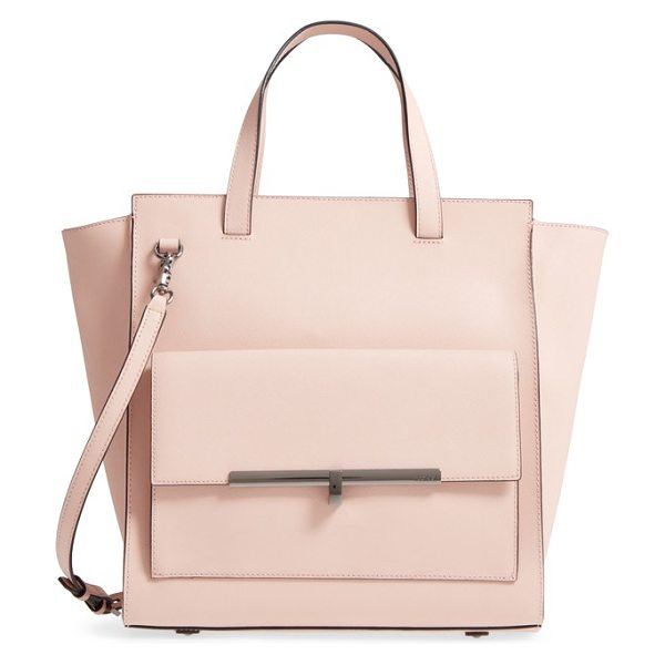 Botkier jagger leather tote in blush - Polished hardware highlights the smart silhouette of a...
