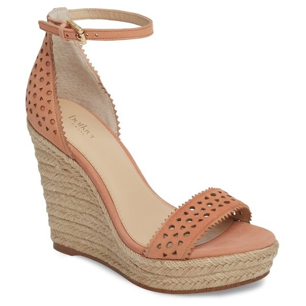 Botkier jamie espadrille wedge sandal in soft peach suede - Geometric perforations and pinked edges heighten the...