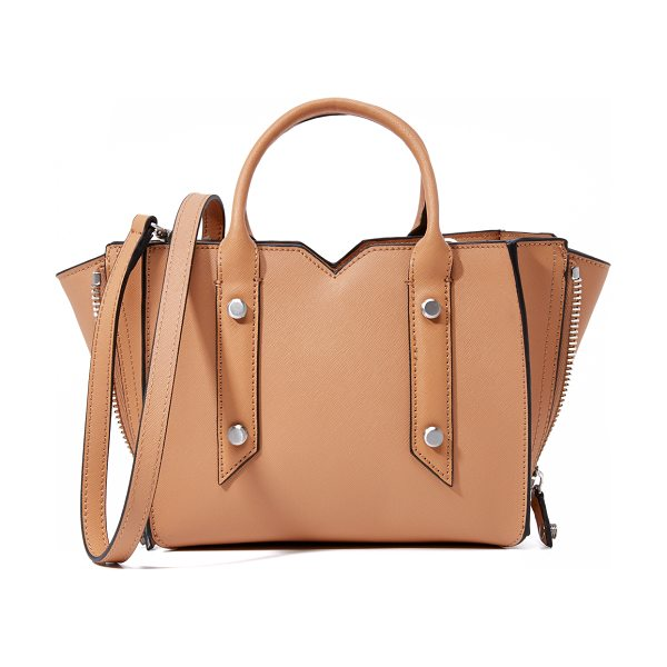 Botkier Murray mini tote in camel - Brushed hardware and a notched top line accent this...