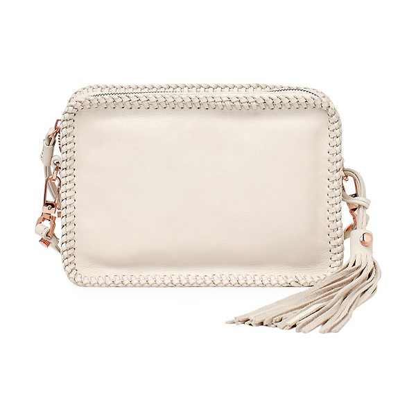 BOTKIER quincy embossed leather crossbody - Woven trim outlines a tonal embossed leather bag....
