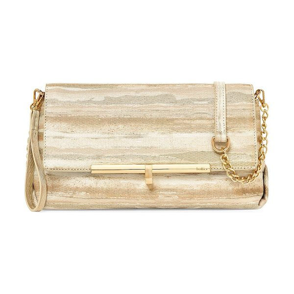 Botkier sadi leather clutch in gold - Printed leather clutch with removable chain strap....