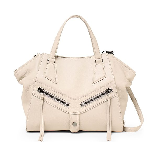 Botkier trigger angled leather satchel in seashell - Functional and elegant satchel tailored from rich...