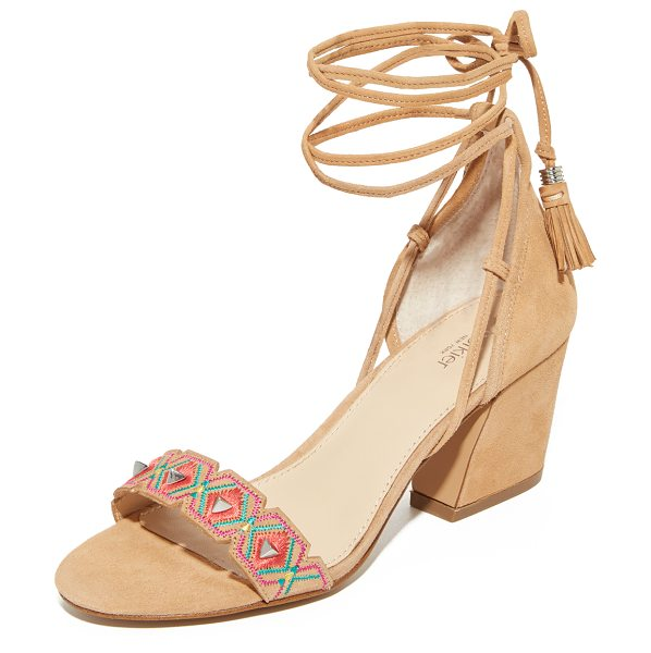 Botkier penelope city sandals in natural/multi combo - Pyramid studs detail the embroidered and notched vamp on...
