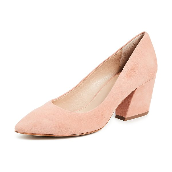 Botkier stella block heel pumps in soft peach - Fabric: Suede Leather: Kidskin Pumps Chunky heel Pointed...
