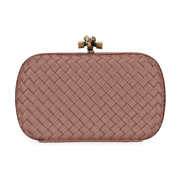 Bottega Veneta Baby Olimpia Intrecciato Leather Shoulder Bag in dark pink
