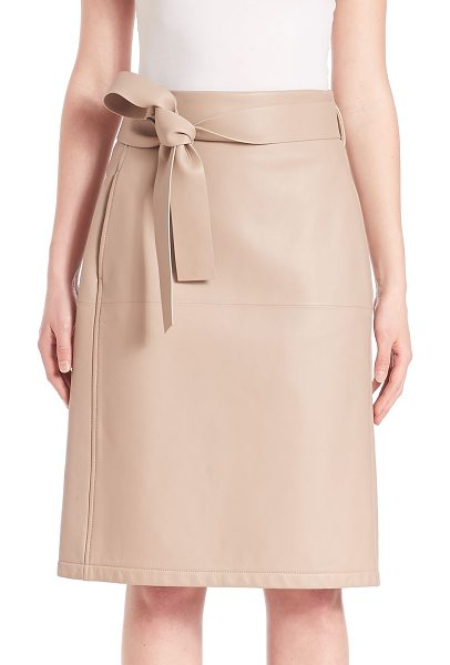 BOTTEGA VENETA belted leather skirt - Leather wrap skirt finished with self-tie belt. Self...