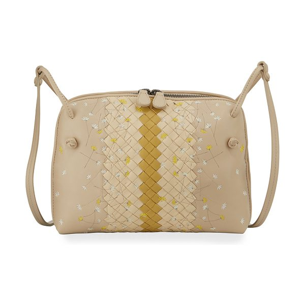 BOTTEGA VENETA Embroidered Leather Pillow Bag in beige/off white/y - Bottega Veneta leather pillow bag with signature...