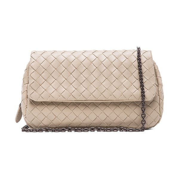 Bottega Veneta Fold over messenger bag in neutrals - Intrecciato nappa leather with suede lining and...