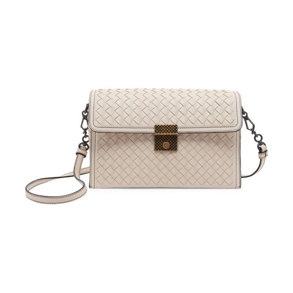 Bottega Veneta intrecciato leather shoulder bag in beige