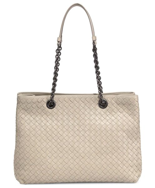 Bottega Veneta intrecciato nappa leather tote in biscotto - Roomy leather shopper with iconic intrecciato finish....