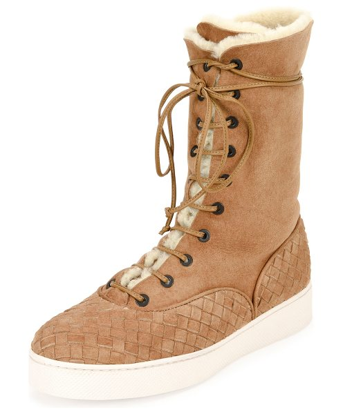 BOTTEGA VENETA Intrecciato-Trim Shearling Fur Mid-Calf Boot in camel - Bottega Veneta suede mid-calf boot with signature...