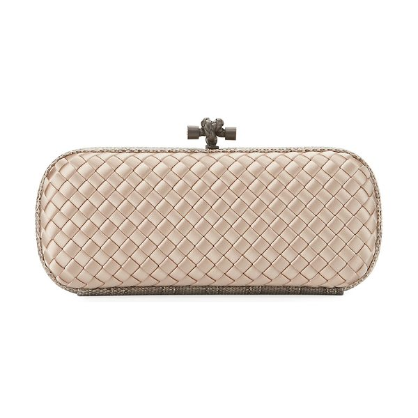 Bottega Veneta Knot Satin Elongated Minaudiere in 2723 mink - Bottega Veneta minaudiere in signature intrecciato woven...