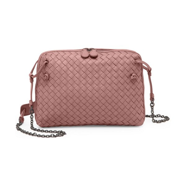 0edfe388e683 Bottega Veneta nodini double-zip crossbody bag in rose - Signature woven  leather finish enhances