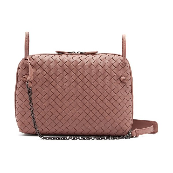 a96a6c25ed85 Bottega Veneta nodini intrecciato leather cross body bag in dark pink -  Bottega Veneta - Simply