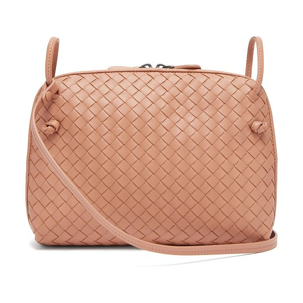 Bottega Veneta Nodini Small Intrecciato Leather Cross Body Bag in nude - Bottega Veneta - Bottega Veneta revisits its Nodini...