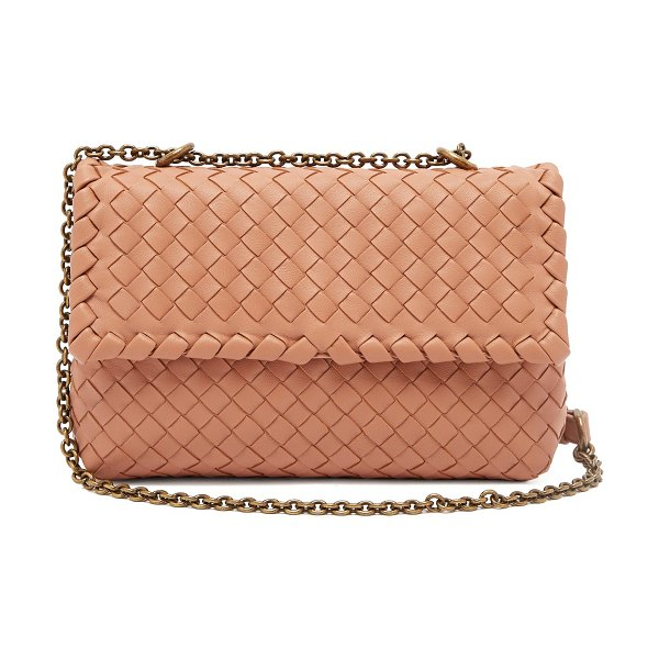 Bottega Veneta Olimpia Intrecciato Leather Shoulder Bag in nude - Bottega Veneta - Tap Bottega Veneta's hallmark style by...