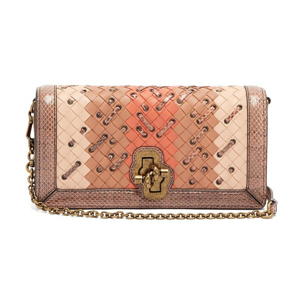BOTTEGA VENETA Olimpia Knot Intrecciato leather clutch in pink multi - Bottega Veneta is synonymous considered and luxurious...