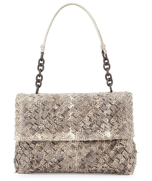 Bottega Veneta Olimpia Tobu Ayers Shoulder Bag in natural - Bottega Veneta woven snakeskin bag. Leather shoulder...