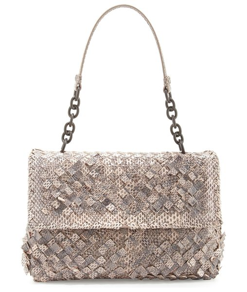 Bottega Veneta Olimpia Tobu Ayers Shoulder Bag in petal rose - Bottega Veneta woven watersnake and lambskin shoulder...