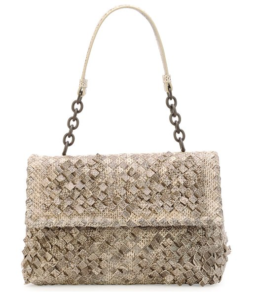 BOTTEGA VENETA Olimpia Tobu Ayers Shoulder Bag - Bottega Veneta woven snakeskin bag. Leather shoulder...