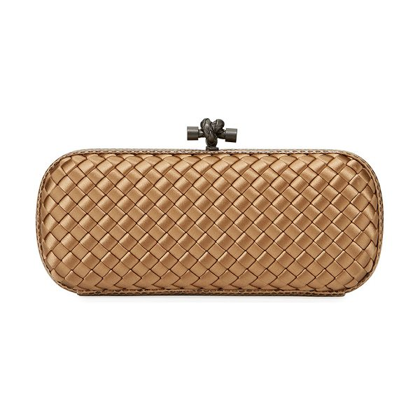 Bottega Veneta Satin Elongated Knot Clutch Bag in camel - Bottega Veneta minaudiere in signature intrecciato woven...