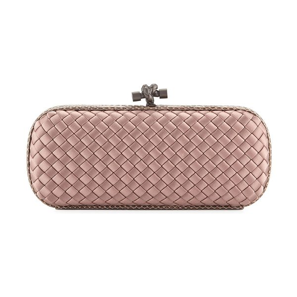 c55e37d0633f Bottega Veneta Stretch Knot Clutch in medium pink - Bottega Veneta  minaudiere in signature intrecciato woven
