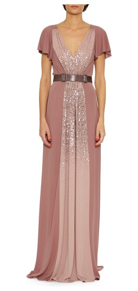 Bottega Veneta Sequined Jersey V-Neck Gown in pink