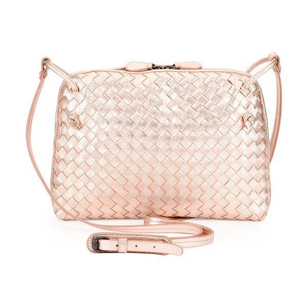 Bottega Veneta Small Intrecciato Grosgrain Crossbody Bag in rose gold