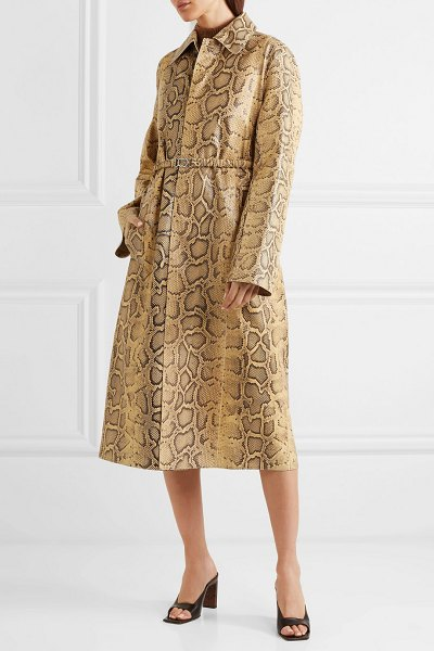 Bottega Veneta snake-effect leather trench coat in beige