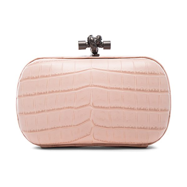 Bottega Veneta Soft Crocodile Clutch in pink - Crocodile leather with suede lining and gunmetal-tone...