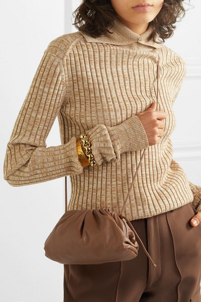Bottega Veneta the pouch small gathered leather clutch in camel