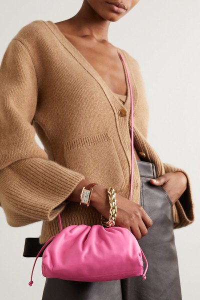 Bottega Veneta the pouch small gathered leather clutch in pink