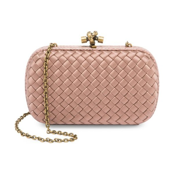 Bottega Veneta woven satin clutch-on-chain in rose - A woven satin finish enhances this clutch with a metal...