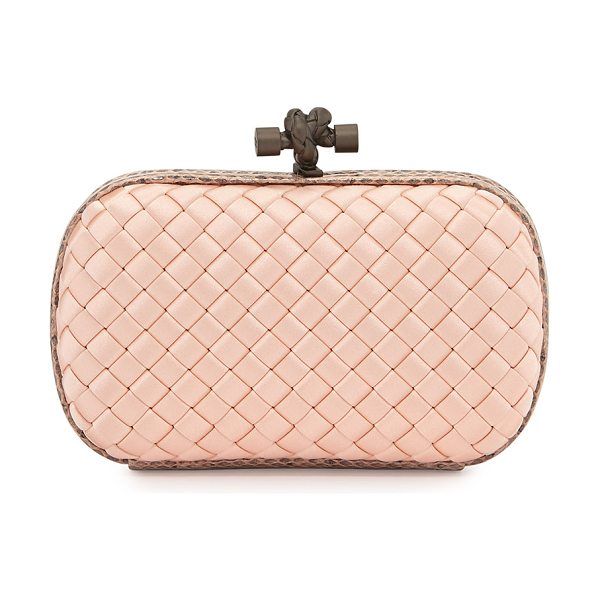 Bottega Veneta Small Knot Satin Clutch in pink - Bottega Veneta satin clutch in signature intrecciato...