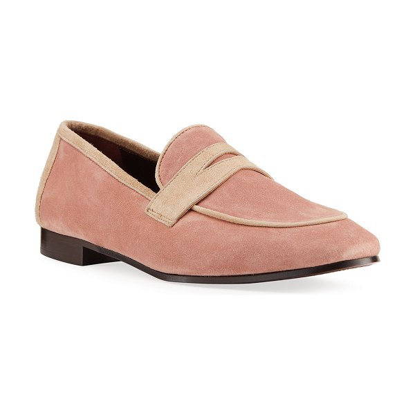 Bougeotte Bicolor Suede Penny Loafers in light pink
