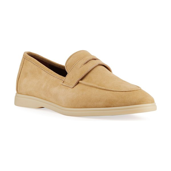Bougeotte Casual Suede Penny Loafers in beige