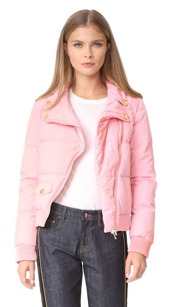 BOUTIQUE MOSCHINO cropped moto puffer jacket - A playful Boutique Moschino puffer jacket with...