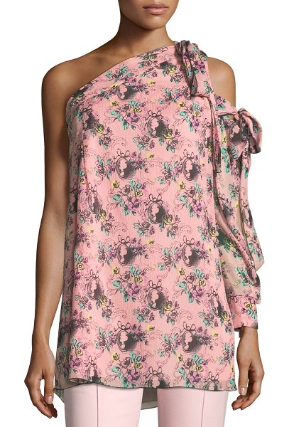 BOUTIQUE MOSCHINO Floral Cameo-Print One-Shoulder Silk Tunic - Boutique Moschino tunic in floral-cameo print....