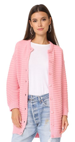 BOUTIQUE MOSCHINO long sweater cardigan in pink - This cozy, chunky-knit Boutique Moschino cardigan has a...
