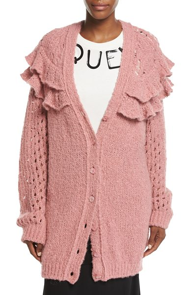 BOUTIQUE MOSCHINO Oversized Ruffled Loose-Knit Cardigan in light pink - Boutique Moschino oversized loose-knit cardigan. Two...